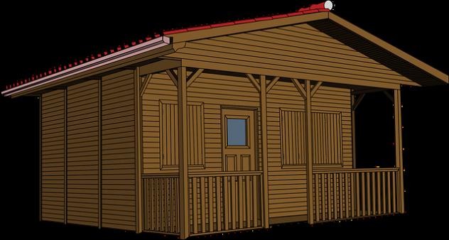mały drewniany domek działkowy z hydroizolacją